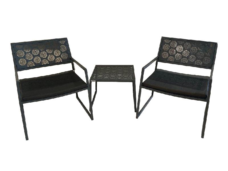 Japan Outdoor Armchairs and Side Table in Dark Grey