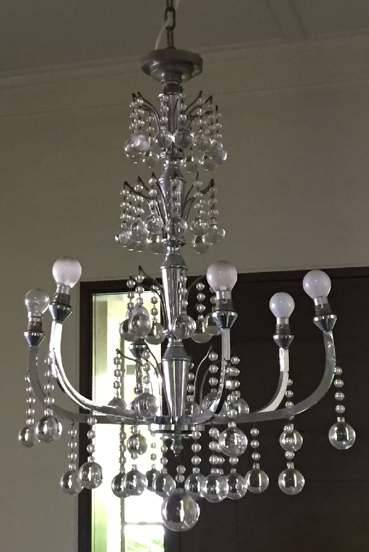 Art Deco French Chrome and Crystal Chandelier