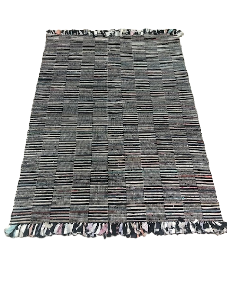 White and Black Chindi Rug