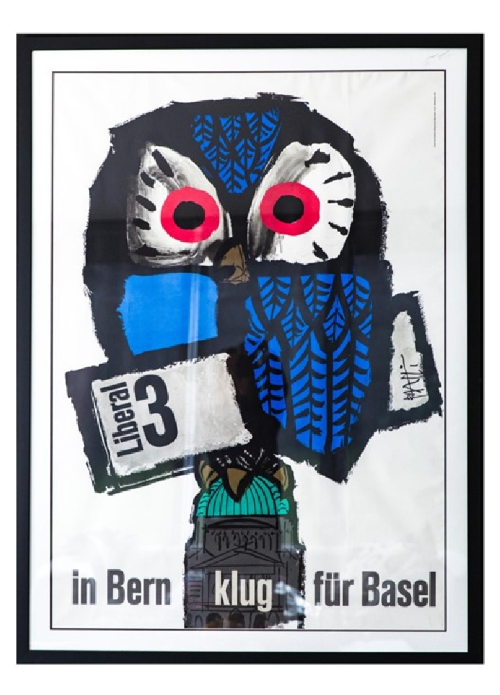 Vintage Swiss Owl Poster 1960