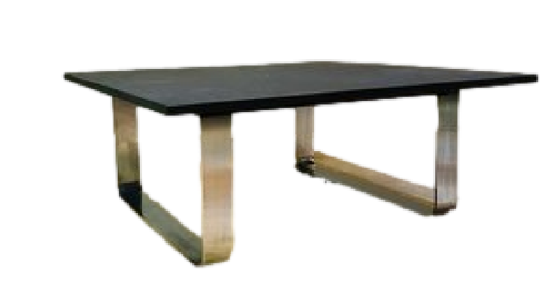Peter Draenert Etched Slate and Chrome Coffee Table