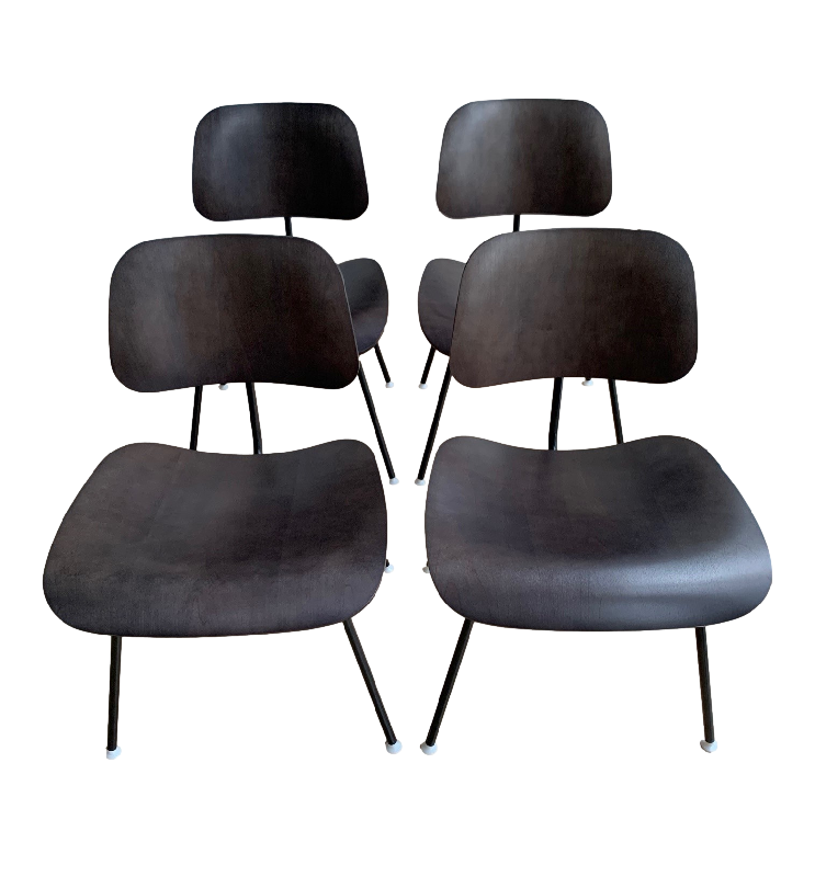 Set of 4 Moulded Plywood Dining Chairs Metal Base
