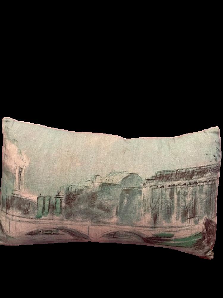 French printed rectangular linen cushion