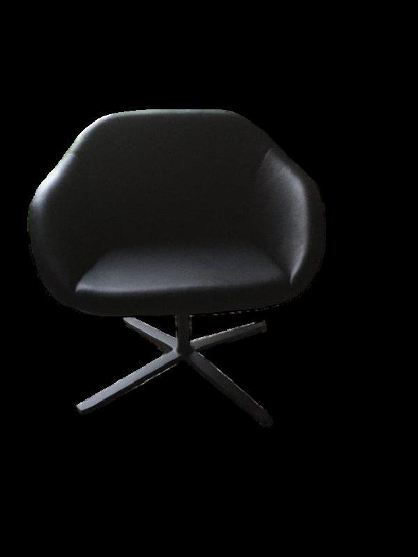 Turtle Black Leather Armchair