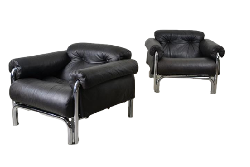 Pair of Over-sized Italian Chrome and Leather Armchairs